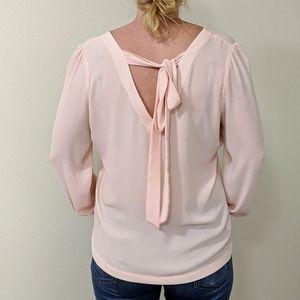 Loft pink blush long sleeve v-neck blouse